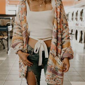 Sweaters - Multi colored striped cardigan